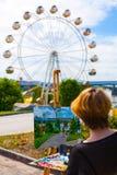 Künstler schmerzt Sommerpark Stockbilder