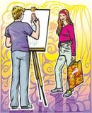 Künstler zeichnet Mädchen Lizenzfreie Stockfotos