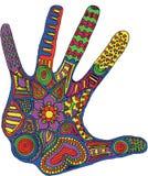 Künstlerisch gezeichnet, zentangle stilisierter Handvektor Muster zen stock abbildung