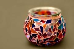 Künstlerische ethnische Mosaikglas-Kerzehalterung lizenzfreie stockfotografie