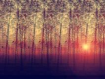 Künstlerische gemalte Beschreibung des landschaftlich verschönerten Pappelbaumbauernhofes an der Sonne Stockbild