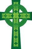Künstlerische grüne Illustration des keltischen Kreuzes Stockfotos