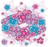 Künstlerische Hand gezeichnetes Blumenmuster Stockfotos