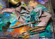 Künstlerische Palettenmesser Stockfoto