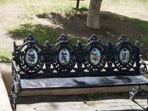 Künstlerische Park-Bank in Santa Fe New Mexiko USA Stockbilder