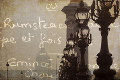 Künstlerische strukturierte Abbildung einer Pariser Brücke Lizenzfreies Stockbild