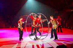 Künstlerische Truppe der Aktion des Moskau-Zirkusses auf Eis Stockfoto