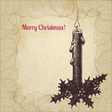 Künstlerische Weinlese Weihnachtskarte mit Kerze Lizenzfreie Stockfotografie