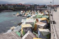 Künstlerische Wirkung auf Würfeln für Hafen Stockbilder