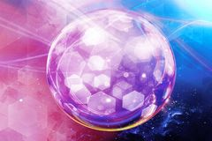 Künstlerischer abstrakter Energie-Ball auf einem mehrfarbigen galaktischen Hintergrund stock abbildung