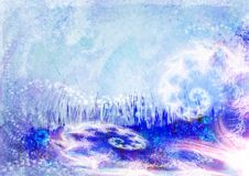 Künstlerischer blauer Hintergrund mit Fractals lizenzfreie abbildung