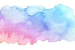 Künstlerischer blauer roter Bürstenanschlag der Aquarellhandgezogenen Zusammenfassung mit Belastungen lokalisiert auf weißem Hint lizenzfreie abbildung