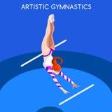 Künstlerischer Gymnastik-Stufenbarren-Sommer-Spiel-Ikonen-Satz isometrische GymnastSporting Meisterschafts-weltweite Konkurrenz 3 vektor abbildung