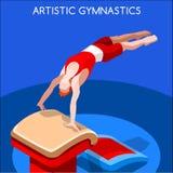 Künstlerischer Gymnastik-Wölbungs-Sommer-Spiel-Ikonen-Satz isometrische GymnastSporting Meisterschafts-weltweite Konkurrenz 3D lizenzfreie abbildung