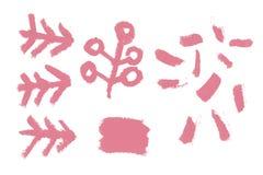 Künstlerischer Rahmen der Weinlese mit kosmetischer Beschaffenheit des natürlichen Lippenstifts für Schaffung der Schönheitshochz Stockfotografie