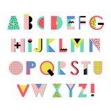 Künstlerisches Alphabet in modischem Memphis-geometrischem Stil Kreativer Guss lizenzfreie abbildung
