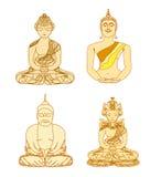 Künstlerisches Buddhismus-Musterset Stockfotografie