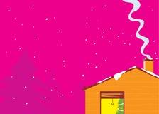 Künstlerisches Haus im Schneesturm stock abbildung