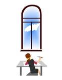 Künstlermädchen ist vor dem Fenster Regenbogen und Wolke auf dem blauen Himmel Lizenzfreie Stockbilder