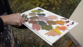 Künstlerpalettenmesser-Ölgemäldemischungsfarben auf der Palette, die eine Nahaufnahme hält Künstler auf der Straße durch den Flus stock video footage