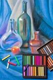 Künstlerpastelle und ursprüngliche Pastellzeichnung des Stilllebens Lizenzfreie Stockfotografie