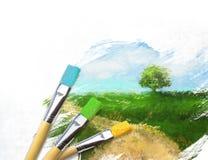 Künstlerpinsel mit einem unfertigen gemalten Segeltuch Stockfotos
