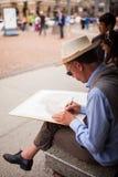Künstlerzeichnung auf Papier Lizenzfreies Stockfoto