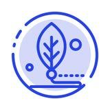 Künstlich, Biologie, Digital, Blatt, Linie Ikone der Leben-blauen punktierten Linie stock abbildung