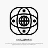 Künstlich, Verbindung, Erde, global, Kugel-Linie Ikonen-Vektor lizenzfreie abbildung