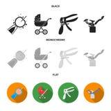 Künstliche Befruchtung, Kinderwagen, Instrument, gynäkologischer Stuhl Gesetzte Sammlungsikonen der Schwangerschaft im Schwarzen, stock abbildung