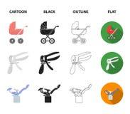 Künstliche Befruchtung, Kinderwagen, Instrument, gynäkologischer Stuhl Gesetzte Sammlungsikonen der Schwangerschaft in der Karika vektor abbildung