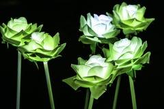 Künstliche Blumen des Nachtfarblichtes Stockfoto