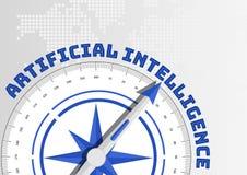 Künstliche Intelligenz AI-Konzept mit dem Kompass, der in Richtung zum Text zeigt lizenzfreies stockfoto