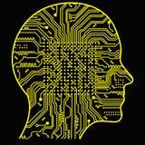 Künstliche Intelligenz Das Bild von Entwürfen des menschlichen Kopfes, dessen Innere dort eine abstrakte Leiterplatte ist Stockfotos