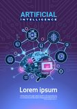 Künstliche Intelligenz-Fahne mit Cyber Brain Cog Wheel And Gears über Motherboard-vertikalem Hintergrund mit Kopien-Raum stock abbildung
