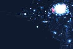 Künstliche Intelligenz, Gehirnrobotersteuerung, digitales futuristics, Nervennetz mit Stromkreisperspektiven-Zusammenfassungshint stock abbildung