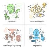Künstliche Intelligenz-Ikonen-Satz stock abbildung