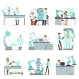 Künstliche Intelligenz, neue Technologien stellte, die Wissenschaftler ein, die im Labor mit Robotermaschinenvektor arbeiten stock abbildung