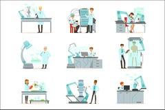 Künstliche Intelligenz, neue Technologien stellte, die Wissenschaftler ein, die im Labor mit Robotermaschinenvektor arbeiten lizenzfreie abbildung