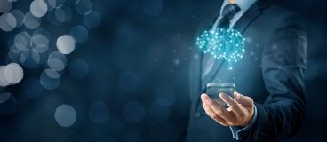 Künstliche Intelligenz Smartphone App lizenzfreies stockbild