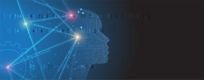 Künstliche Intelligenz Technologienetzhintergrund Virtuelles conc Lizenzfreies Stockfoto