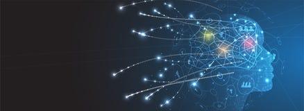 Künstliche Intelligenz Technologienetzhintergrund Virtuelles conc stockbild