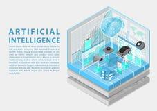 Künstliche Intelligenz und Internet des Sachenkonzeptes mit digitalem Gehirn und als isometrische Vektorillustration stockfoto