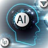 Künstliche Intelligenz Vector abstrakten Illustrations-, Technologie- und Wissenschaftshintergrund Lizenzfreies Stockbild