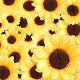 Künstlicher gelber Sonnenblumenhintergrund Stockfotos