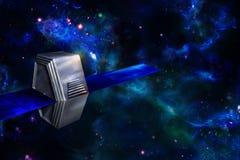 Künstlicher Satelitte oder Raumfahrzeug im Raum stockfotografie