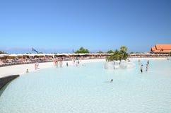 Künstlicher Strand in Siam Park in Costa Adeje auf Teneriffa Lizenzfreie Stockfotografie