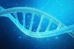 Künstliches intelegence DNA-Molekül Konzeptbinär code-Genom Abstrakte Technologiewissenschaft, Konzept künstliche DNA 3d lizenzfreie abbildung