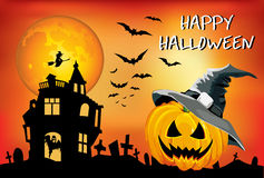 KürbisÂ Halloween mit Hut, Plakat, die Illustration der Kinder, Karte auf einem orange Hintergrund Lizenzfreies Stockfoto