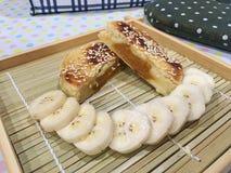 Kürbis-Chinesekuchen mit Bananen Stockfotos